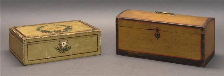 """TWO LIFT-TOP PAINTED PINE BOXES One under off-white paint with burgundy and gilt border. Top with """"M.N.B."""" within a floral wreath. S..."""