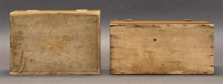 TWO LIFT-TOP PAINTED PINE BOXES One under off-white paint with burgundy and gilt border. Top with