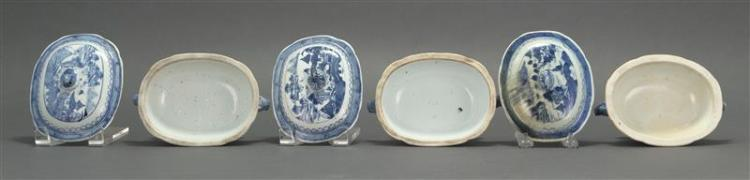 THREE MINIATURE CANTON PORCELAIN COVERED TUREENS Each with blue and white decoration. Covers with stem-form finials. Tureens with bo...