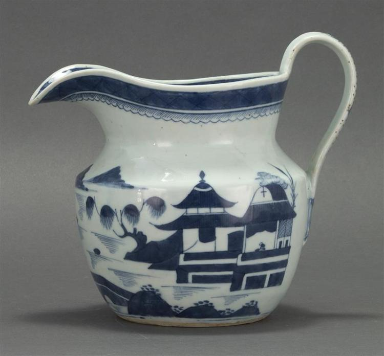 CANTON PORCELAIN WATER PITCHER In squat waisted form with blue and white decoration. Height 7