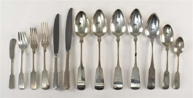 "GORHAM ""OLD ENGLISH TIPT"" PATTERN STERLING SILVER FLATWARE SERVICE Together with four coin silver tablespoons. Flatware service piec..."