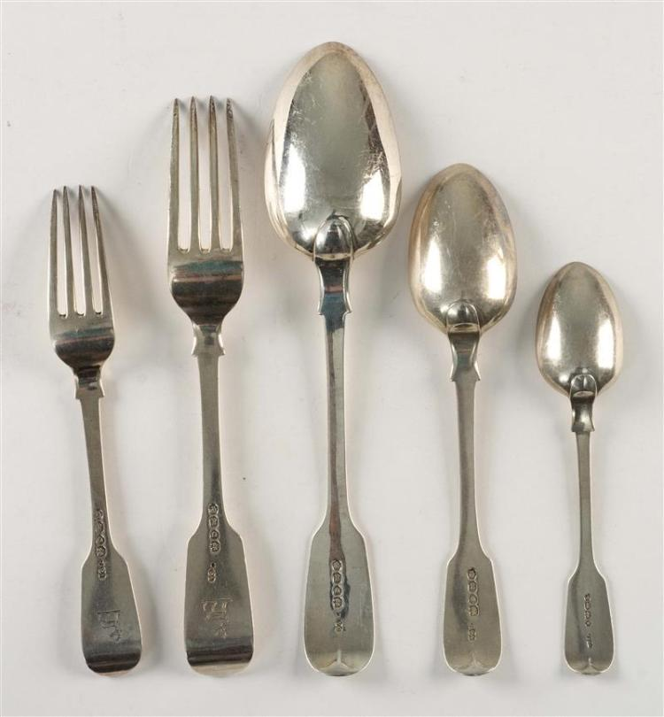 TWENTY-FOUR PIECES OF VICTORIAN STERLING SILVER FLATWARE Chawner & Co (George William Adams), maker. Each piece engraved with a stag...