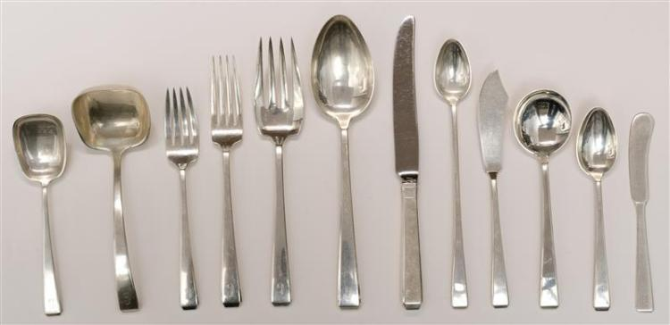 "TOWLE ""CRAFTSMAN"" PATTERN STERLING SILVER FLATWARE SERVICE Most pieces monogrammed. Includes wooden case. Includes: 8 8.75"" knives8..."