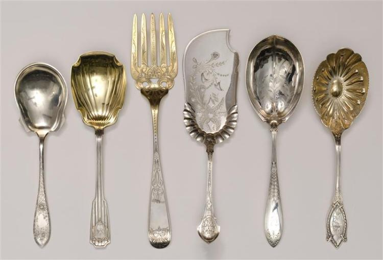 "SIX AMERICAN SILVER FLATWARE SERVING PIECES Sterling silver and monogrammed unless otherwise noted. 1) Shiebler ""Diamond"" berry spoo..."