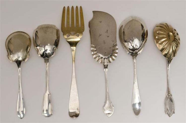SIX AMERICAN SILVER FLATWARE SERVING PIECES Sterling silver and monogrammed unless otherwise noted. 1) Shiebler