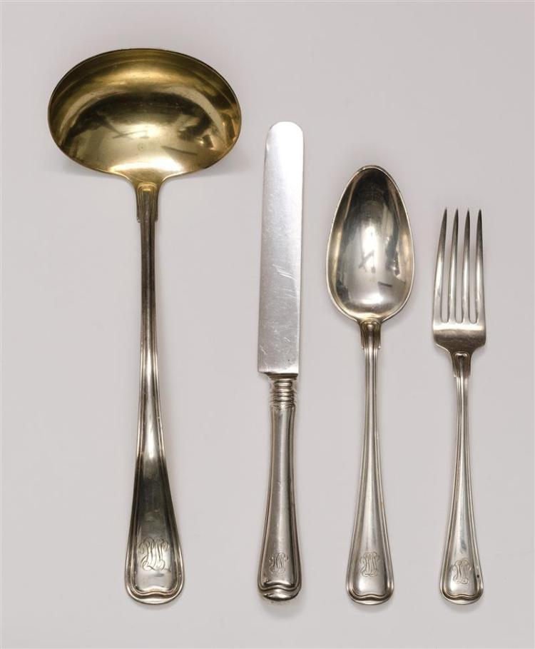 "SIXTEEN PIECES OF GORHAM ""OLD FRENCH"" PATTERN STERLING SILVER FLATWARE Monogrammed. Includes: 5 9.75"" knives5 7.75"" forks5 tablespoo..."