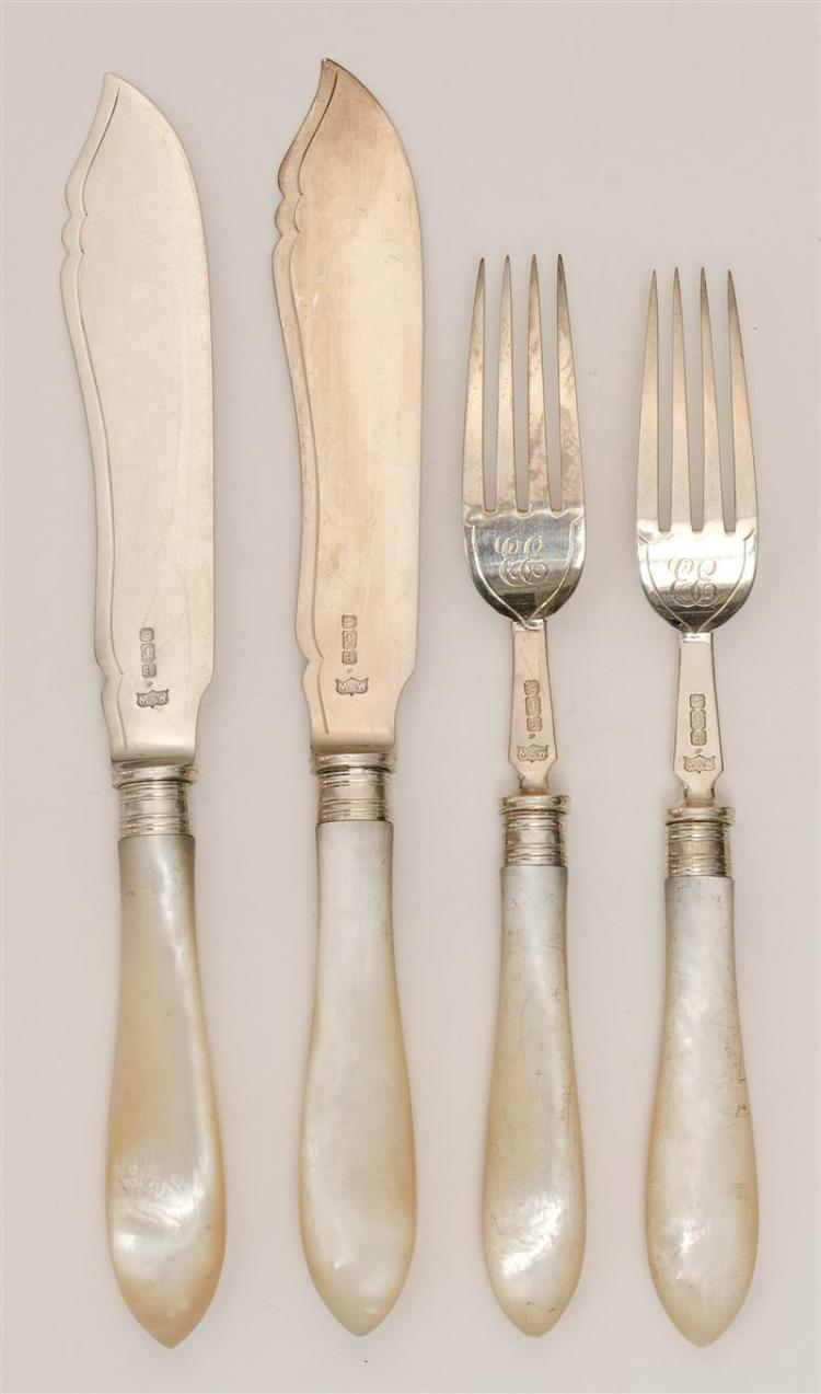 EDWARD VII STERLING SILVER AND MOTHER-OF-PEARL FISH SERVICE Mappin & Webb, maker. Includes twelve knives and forks engraved with scr...