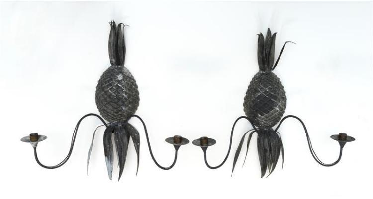 """PAIR OF TIN PINEAPPLE-FORM WALL SCONCES Each with two socles. Heights 21.5"""". Widths 20""""."""