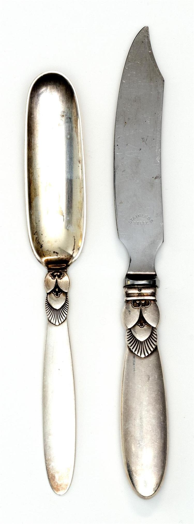 "TWO GEORG JENSEN ""CACTUS"" PATTERN STERLING SILVER FLATWARE PIECES A cheese scoop, length 7"", and an individual fish knife with hollo..."