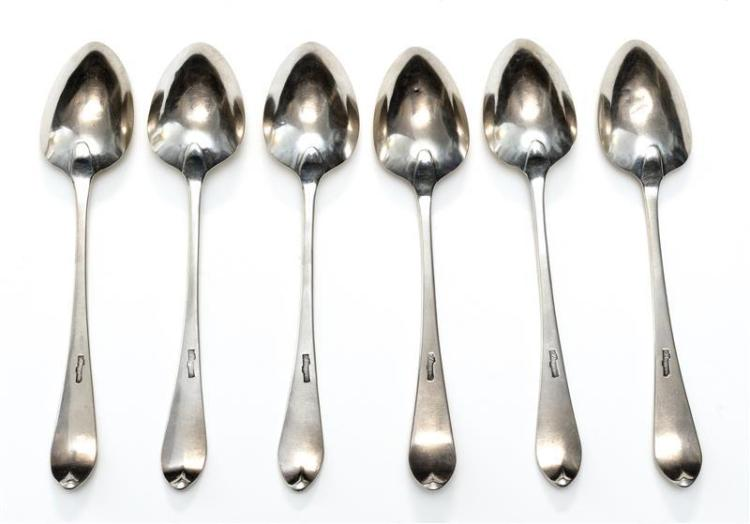 SIX AMERICAN FEDERAL COIN SILVER PLACE SPOONS BY JOHN BERGER With bright-cut design. Each piece monogrammed with one of two differin...