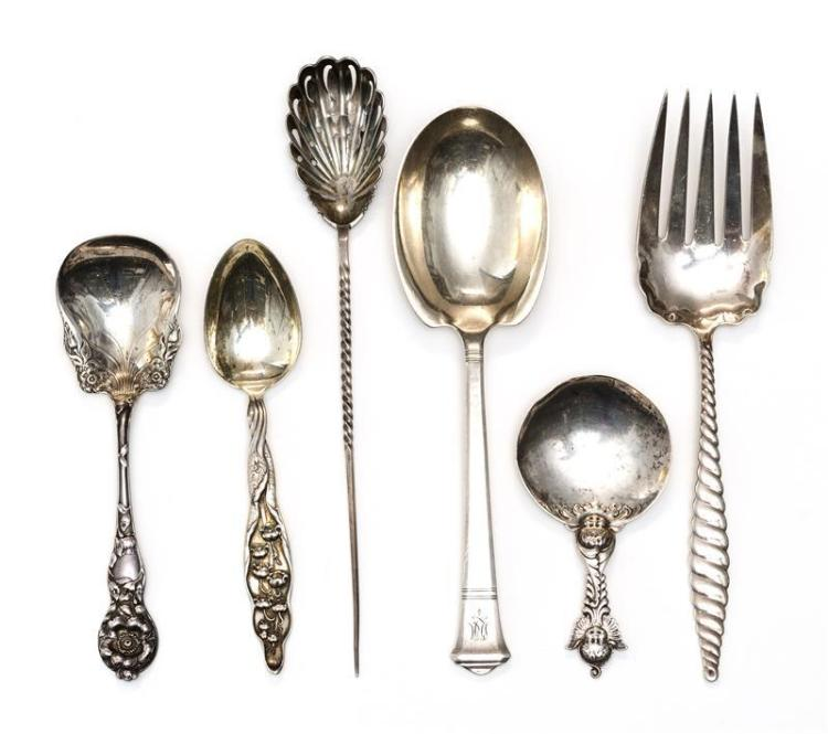 "SIX PIECES OF AMERICAN STERLING SILVER FLATWARE Not monogrammed unless otherwise noted. 1) Tiffany & Co. monogrammed ""Windham"" prese..."
