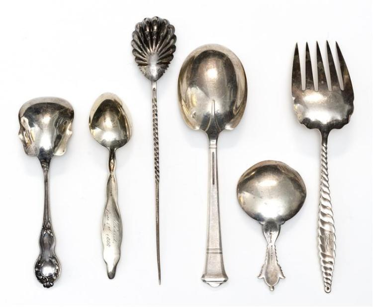 SIX PIECES OF AMERICAN STERLING SILVER FLATWARE Not monogrammed unless otherwise noted. 1) Tiffany & Co. monogrammed