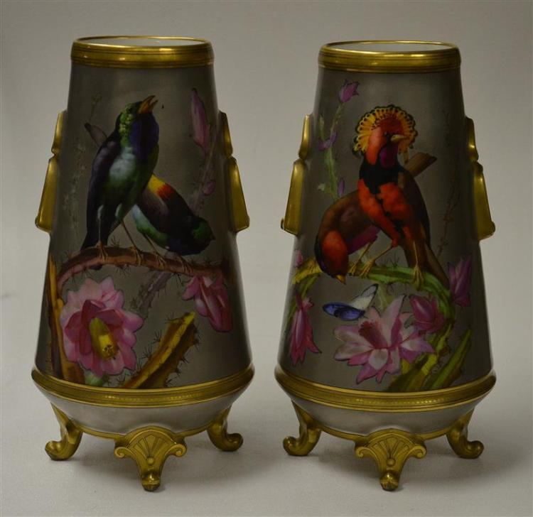 PAIR OF EXHIBITION PARIS PORCELAIN VASES WITH DECORATION IN THE STYLE OF NARCISSE VIVIEN Aesthetic style, with tapering cylindrical...