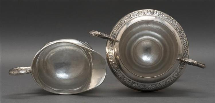 TWO PIECES OF AMERICAN COIN SILVER 1) Black, Starr & Frost sugar bowl marked for retailer