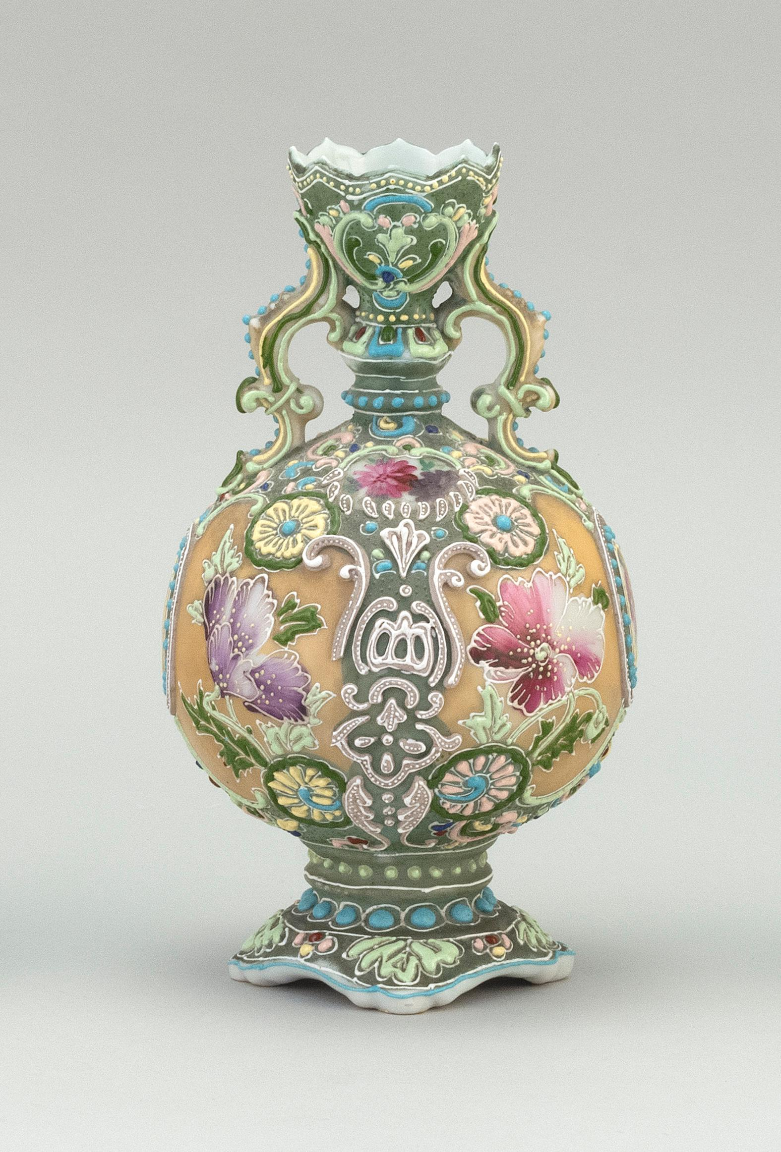 """MORIAGE NIPPON PORCELAIN VASE Ovoid, with floral decoration. Height 8""""."""