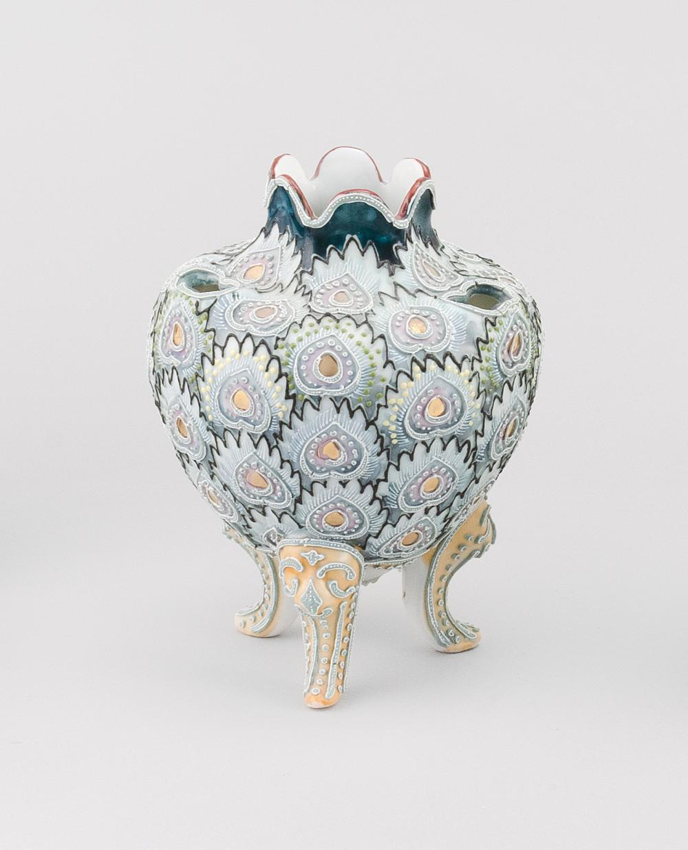 MORIAGE NIPPON PORCELAIN NARCISSUS VASE Ovoid, with peacock feather design. Van Patten #90 mark on base. Height 7