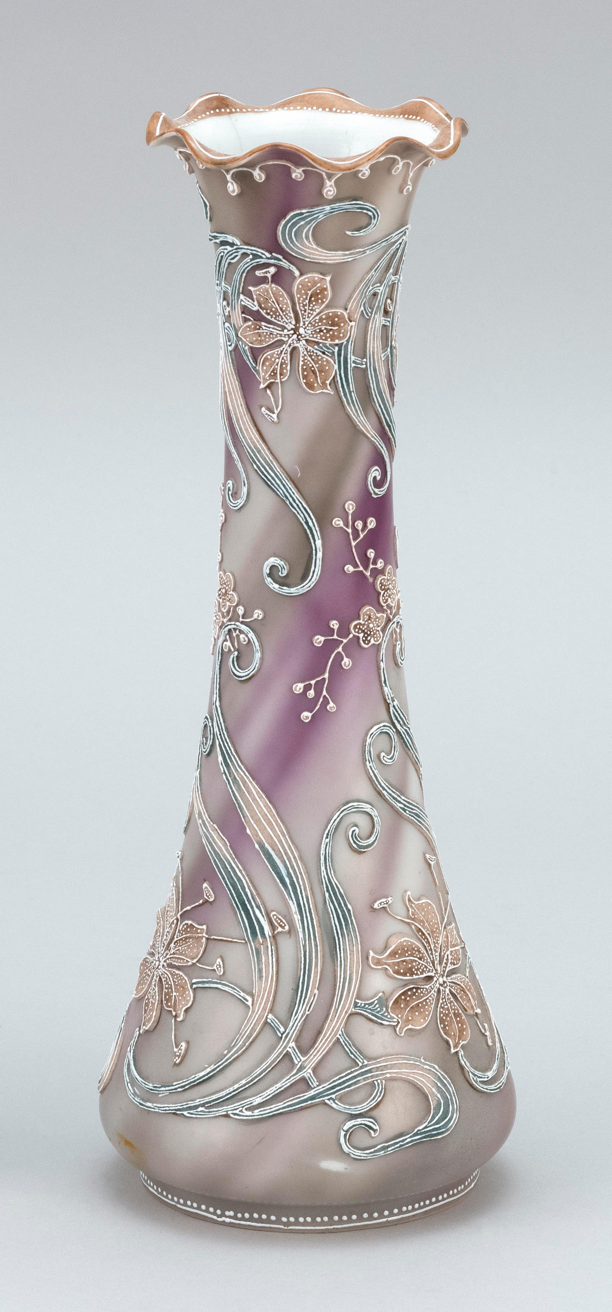 """MORIAGE NIPPON PORCELAIN VASE Conical, with a floral design on a smoke gray ground. Height 11""""."""