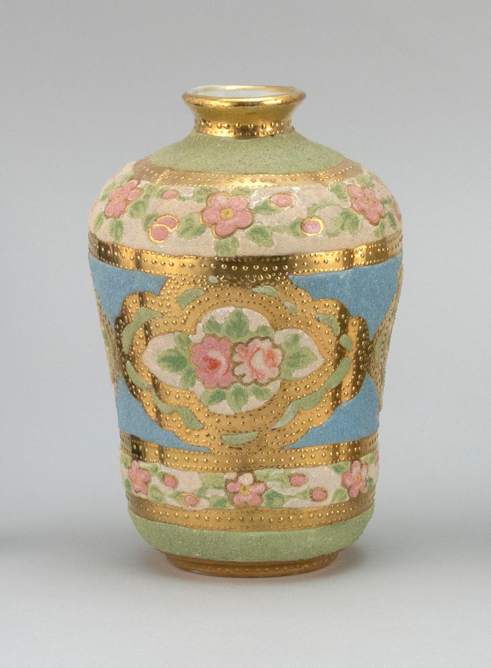 """CORALINE NIPPON PORCELAIN VASE With rose decoration. Patent mark on base. Height 6.5""""."""