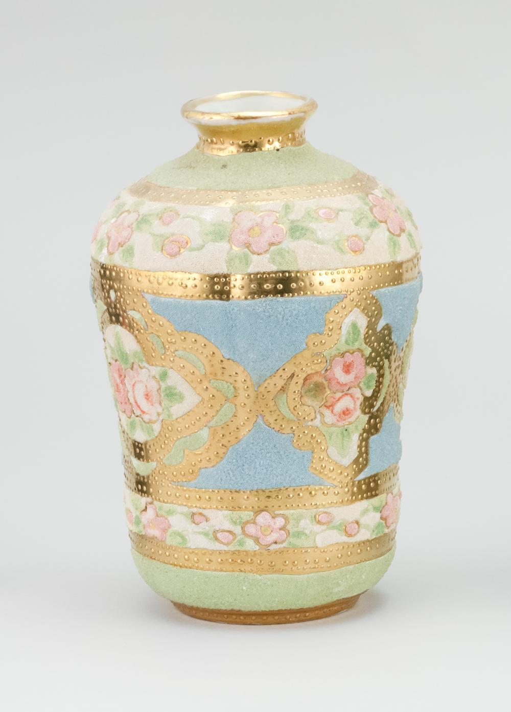 CORALINE NIPPON PORCELAIN VASE With rose decoration. Patent mark on base. Height 6.5