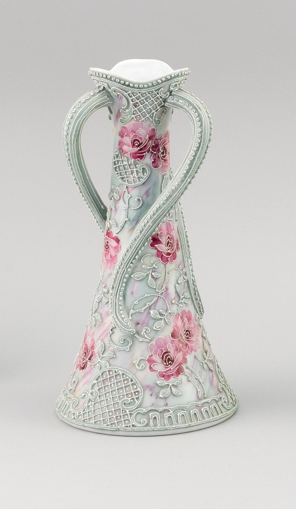 """MORIAGE NIPPON PORCELAIN VASE Conical, with three twisting handles and rose decoration. Height 10""""."""