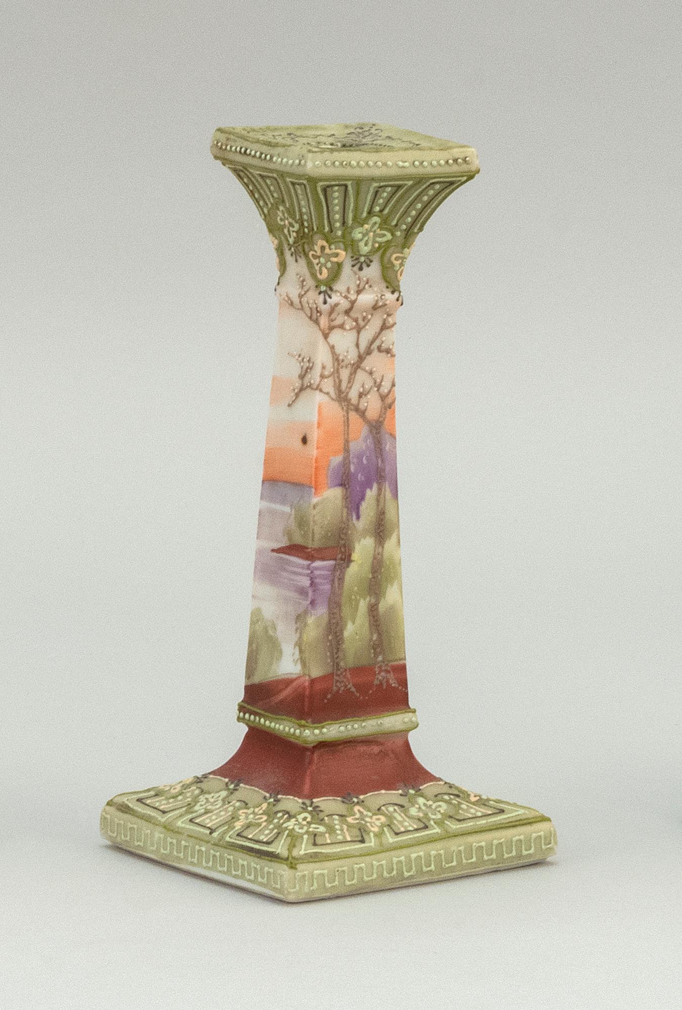 "MORIAGE NIPPON PORCELAIN CANDLESTICK With landscape design. Van Patten #52 mark on base. Height 7.5""."