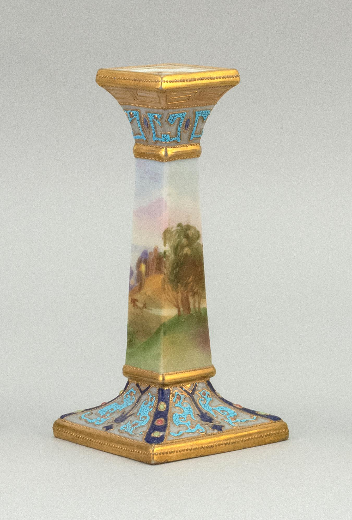 "NIPPON PORCELAIN CANDLESTICK With scenic decoration of cows in a landscape. Van Patten #47 mark on base. Height 7.5""."