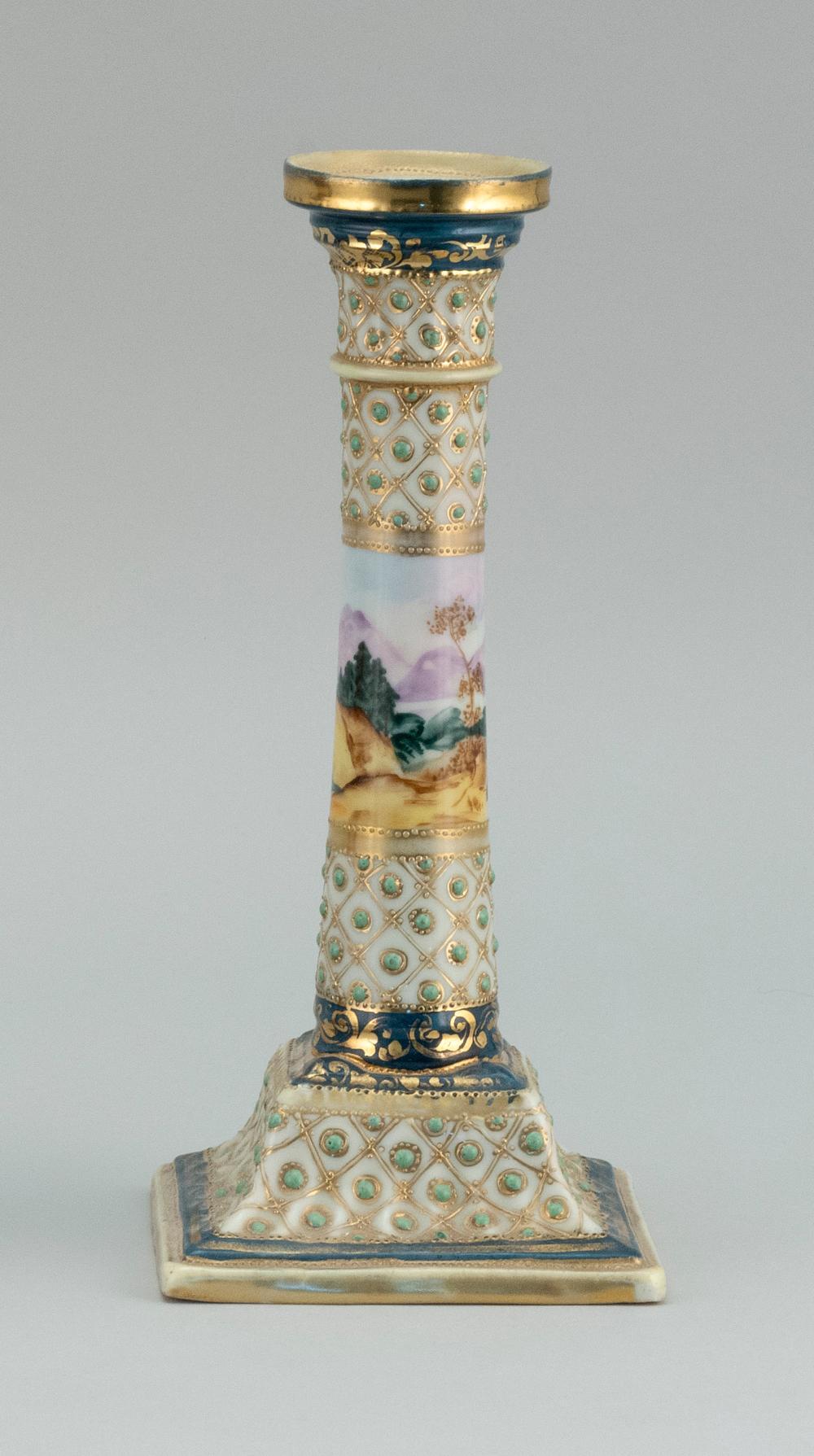 "NIPPON PORCELAIN CANDLESTICK With jeweled landscape design. Van Patten #52 mark on base. Height 9.25""."