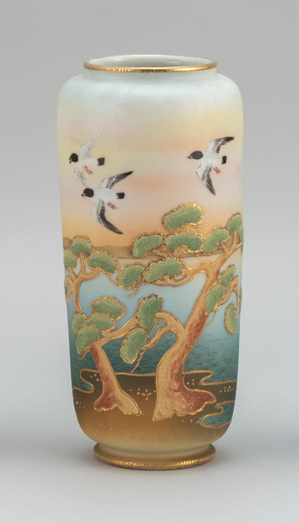 "CORALINE NIPPON PORCELAIN VASE Cylindrical, with sparrow and pine tree design. Height 9.75""."