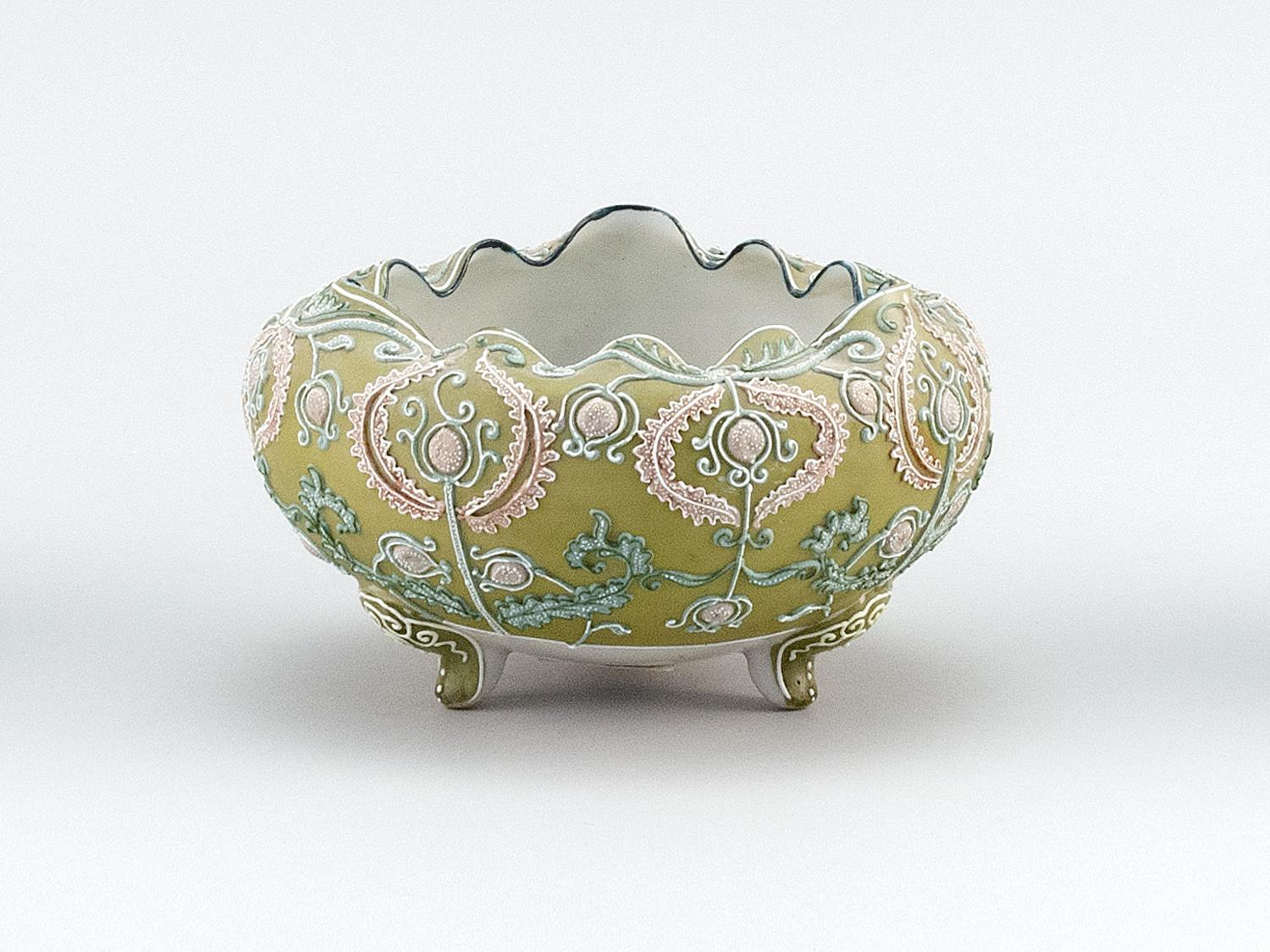 """MORIAGE NIPPON PORCELAIN FOOTED BOWL Ovoid, with tripod base and passionflower decoration. Van Patten #52 mark on base. Diameter 5.5""""."""
