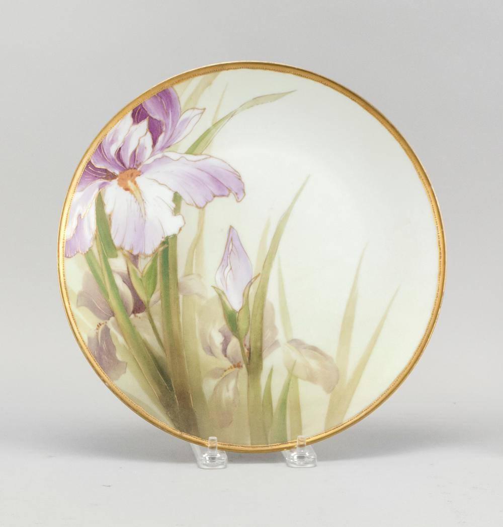 "NIPPON PORCELAIN PLATE With iris decoration. Van Patten #47 mark on base. Diameter 10""."