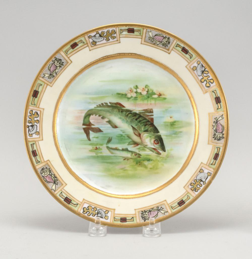 "NIPPON PORCELAIN PLATE With fish and lotus design. Van Patten #47 mark on base. Diameter 8.5""."