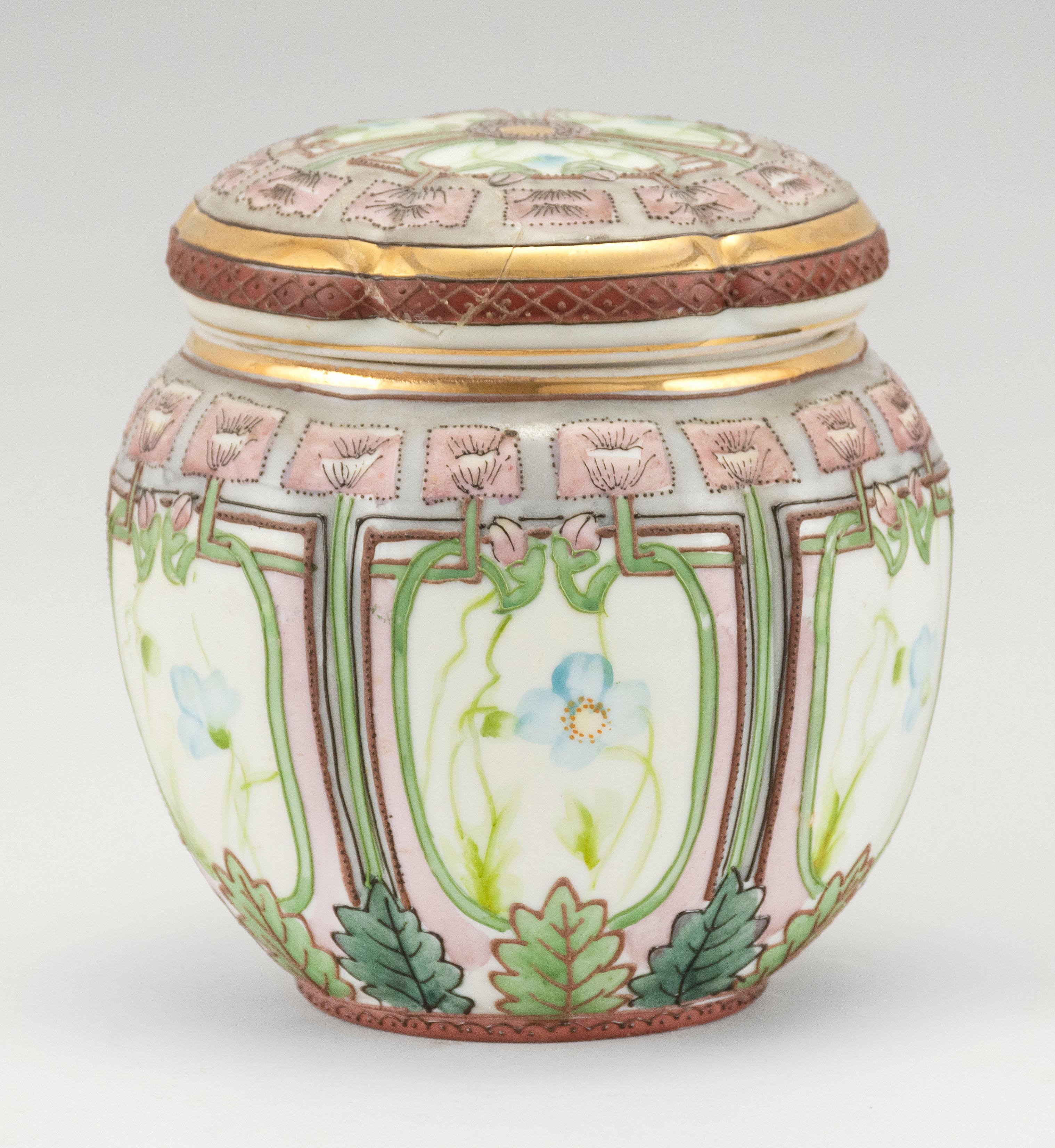 """NIPPON PORCELAIN HUMIDOR In ovoid form, with floral designs. Van Patten #52 mark on base. Height 5.5""""."""