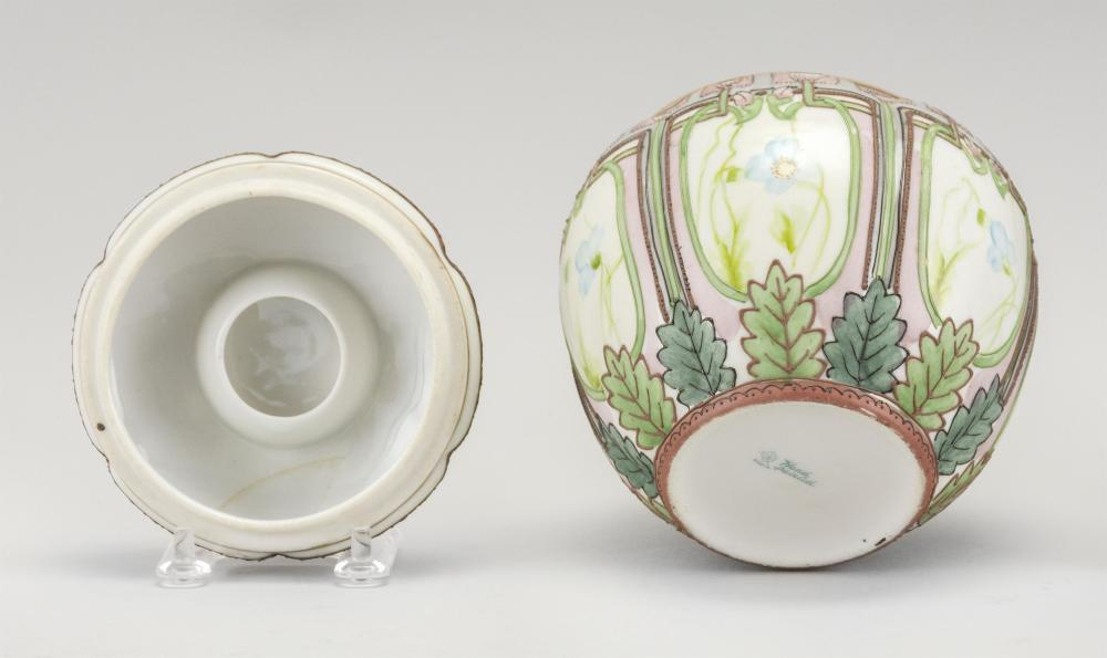 NIPPON PORCELAIN HUMIDOR In ovoid form, with floral designs. Van Patten #52 mark on base. Height 5.5