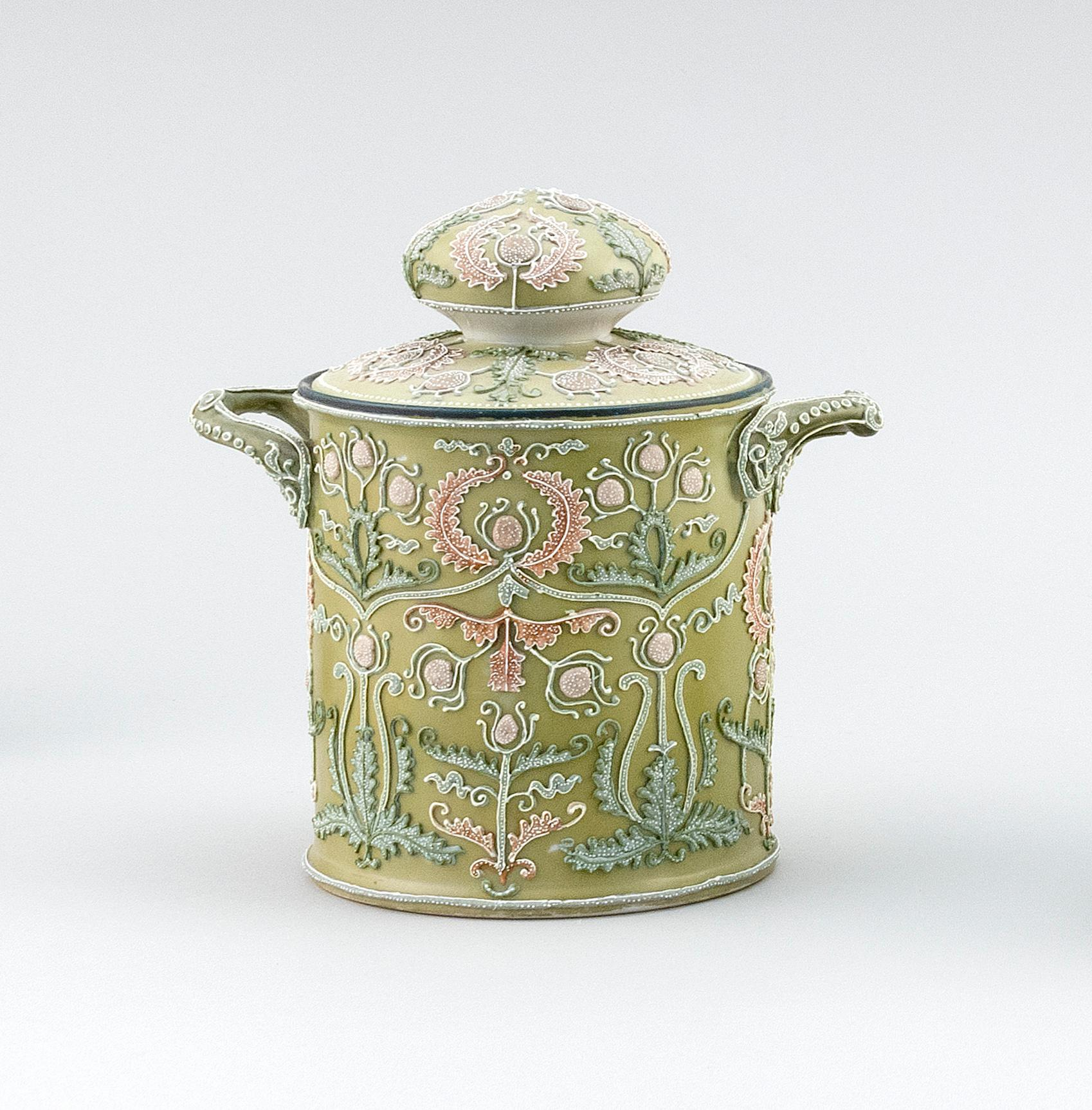 "MORIAGE NIPPON PORCELAIN HUMIDOR Cylindrical, with applied handles and passionflower decoration. Height 6.5""."