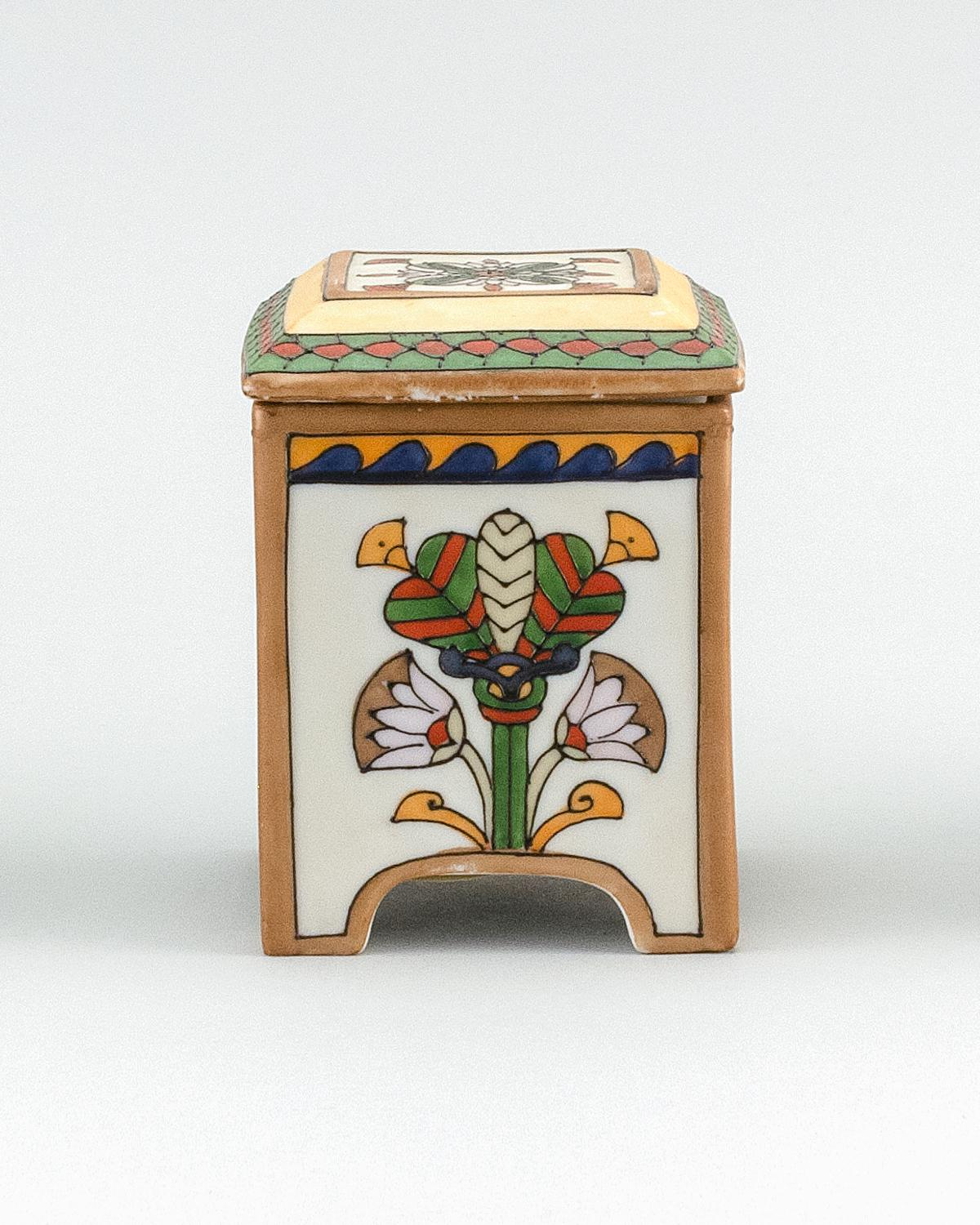 "NIPPON PORCELAIN HUMIDOR Rectangular, with decoration of Egyptian motifs. Height 4.7""."