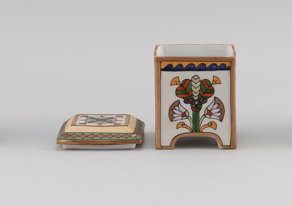 NIPPON PORCELAIN HUMIDOR Rectangular, with decoration of Egyptian motifs. Height 4.7