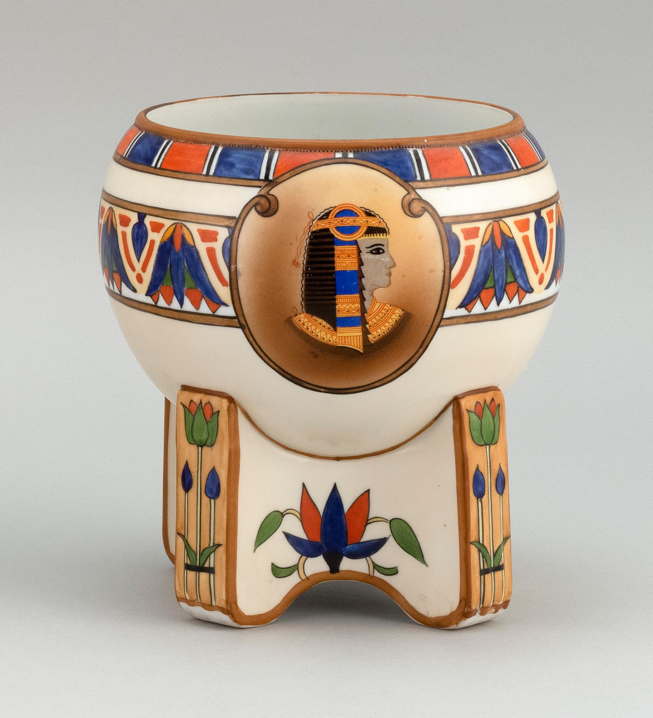 NIPPON PORCELAIN FOOTED BOWL Ovoid, with decoration of Egyptian motifs including two bust portraits of women. Van Patten #47 mark on...