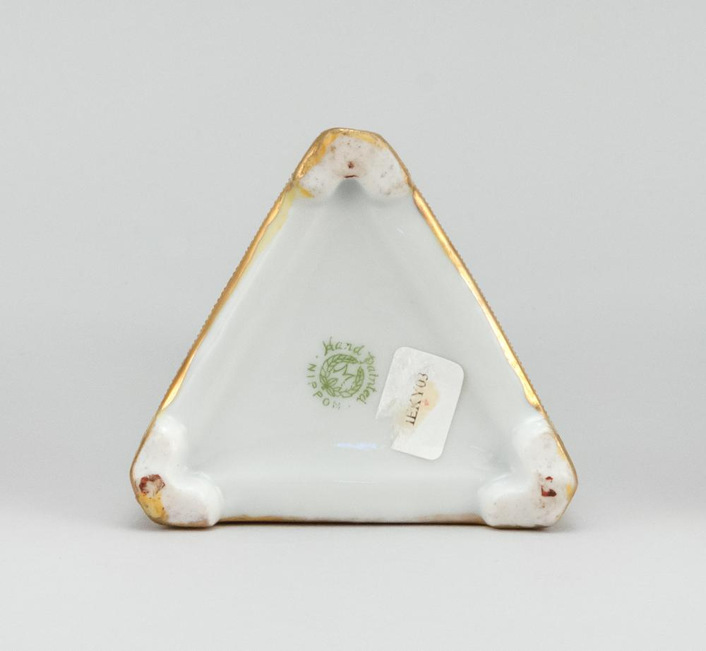 NIPPON PORCELAIN CANDLESTICK In pyramid form, with scenic decoration of swans in a tree-lined lake. Van Patten #47 mark on base. Hei...