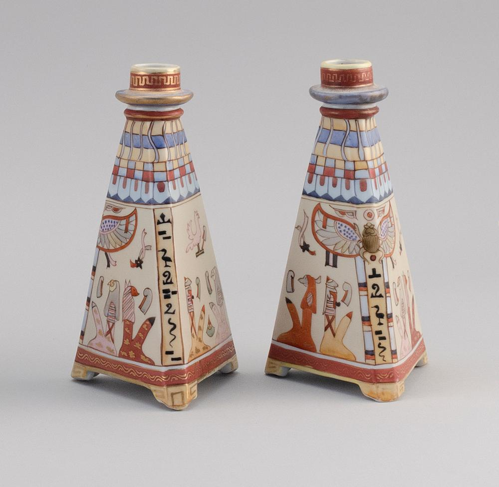 PAIR OF NIPPON PORCELAIN CANDLESTICKS In pyramid form, with hieroglyphic decoration. Van Patten #47 mark on bases. Heights 8