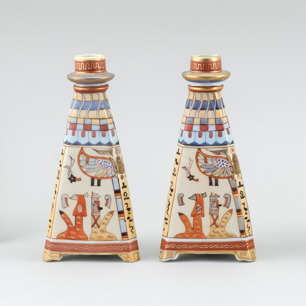 "PAIR OF NIPPON PORCELAIN CANDLESTICKS In pyramid form, with hieroglyphic decoration. Van Patten #47 mark on bases. Heights 8""."