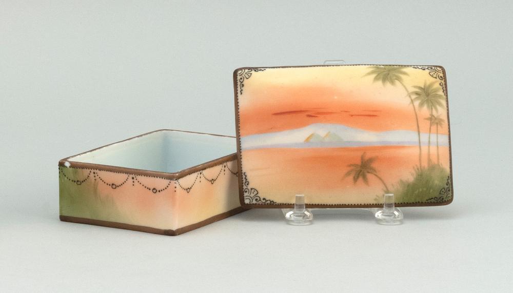 "NIPPON PORCELAIN BOX Rectangular, with an Egyptian landscape design. Van Patten #47 mark on base. Length 4.6""."