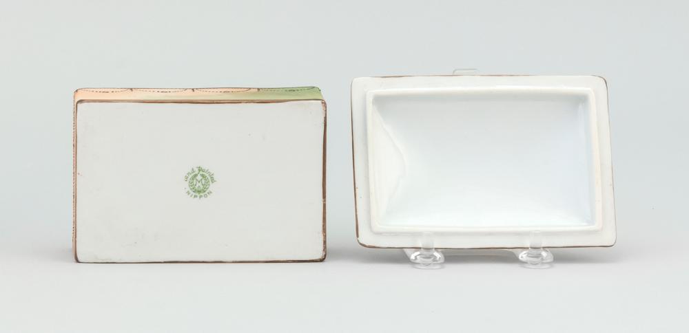 NIPPON PORCELAIN BOX Rectangular, with an Egyptian landscape design. Van Patten #47 mark on base. Length 4.6