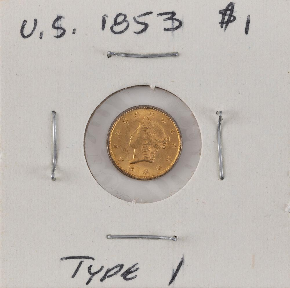 U.S. 1853 ONE-DOLLAR GOLD PIECE Type I. EF.