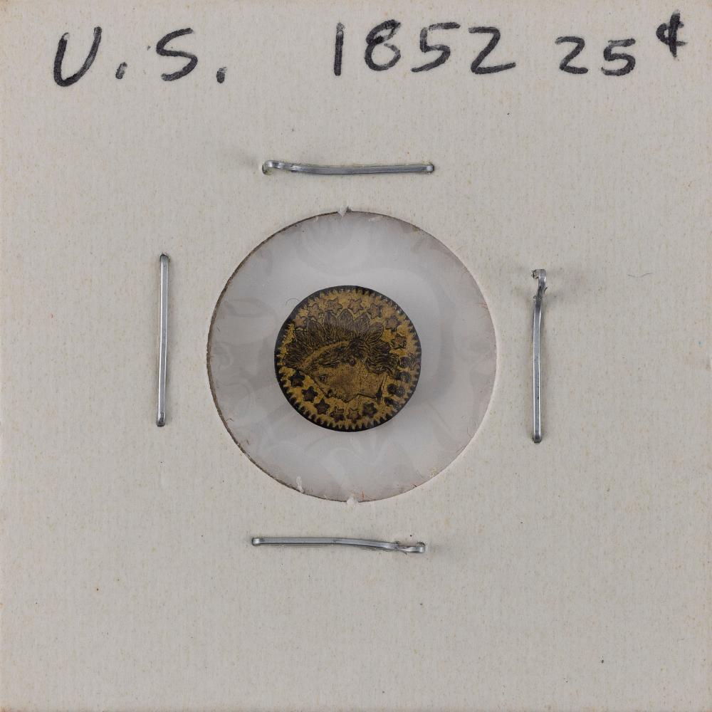 U.S. 1852 TWENTY-FIVE-CENT GOLD PIECE F.