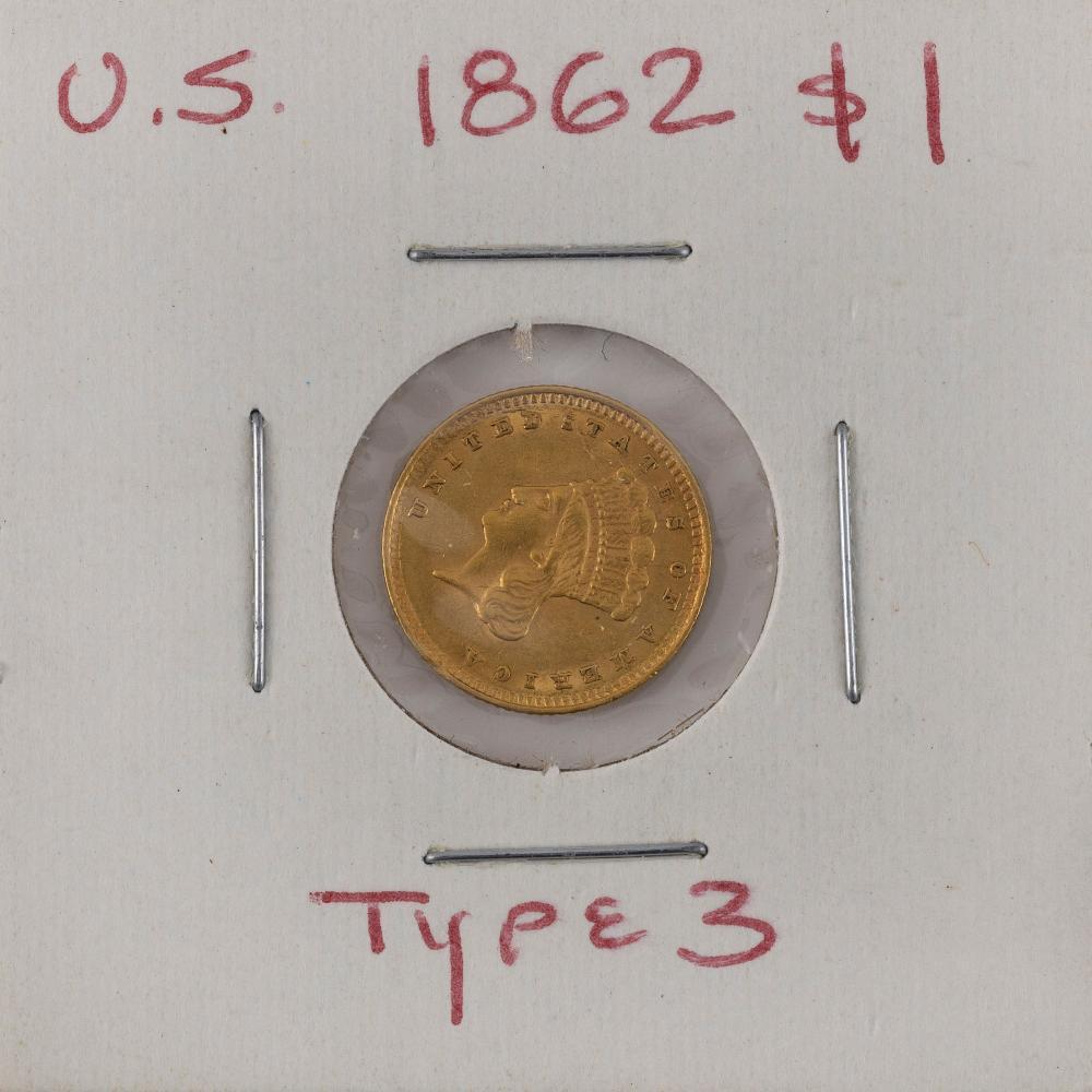 U.S. 1862 ONE-DOLLAR GOLD PIECE Type III. VF.