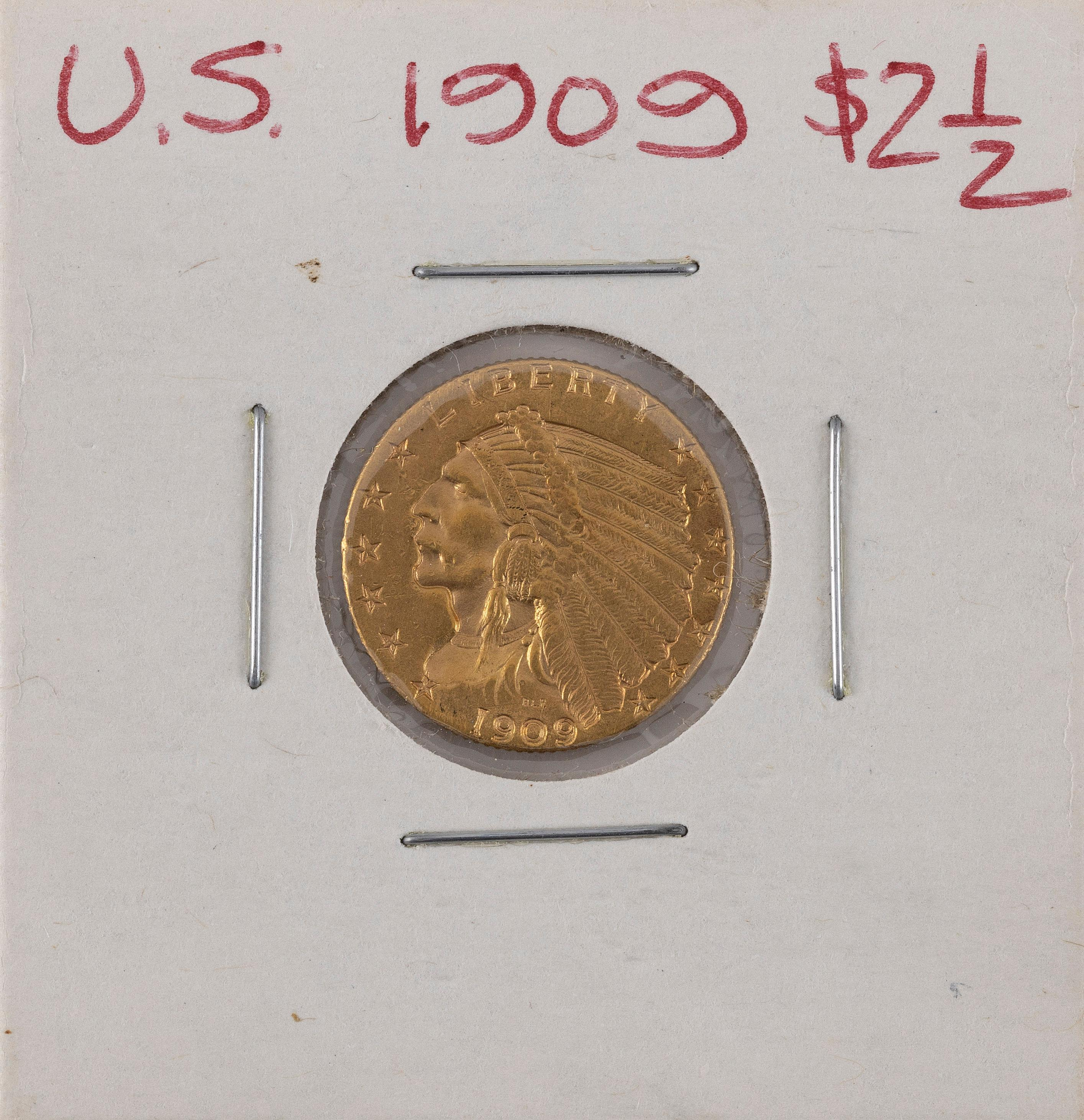 U.S. 1909 TWO-AND-A-HALF DOLLAR GOLD PIECE EF.