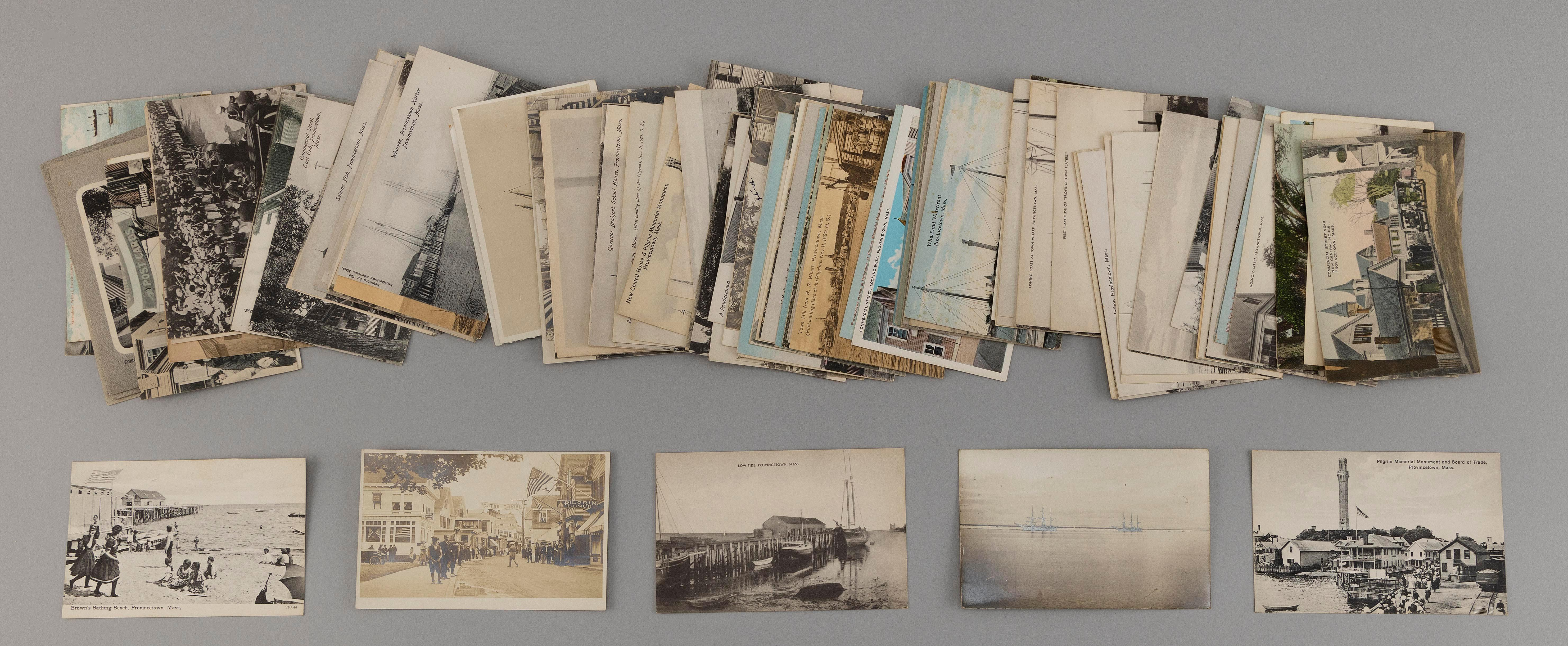 (CAPE COD: PROVINCETOWN) 137 POSTCARDS Real photo: Aug. 10th parade, boats in harbor, beached two-masted schooner, street scene with...
