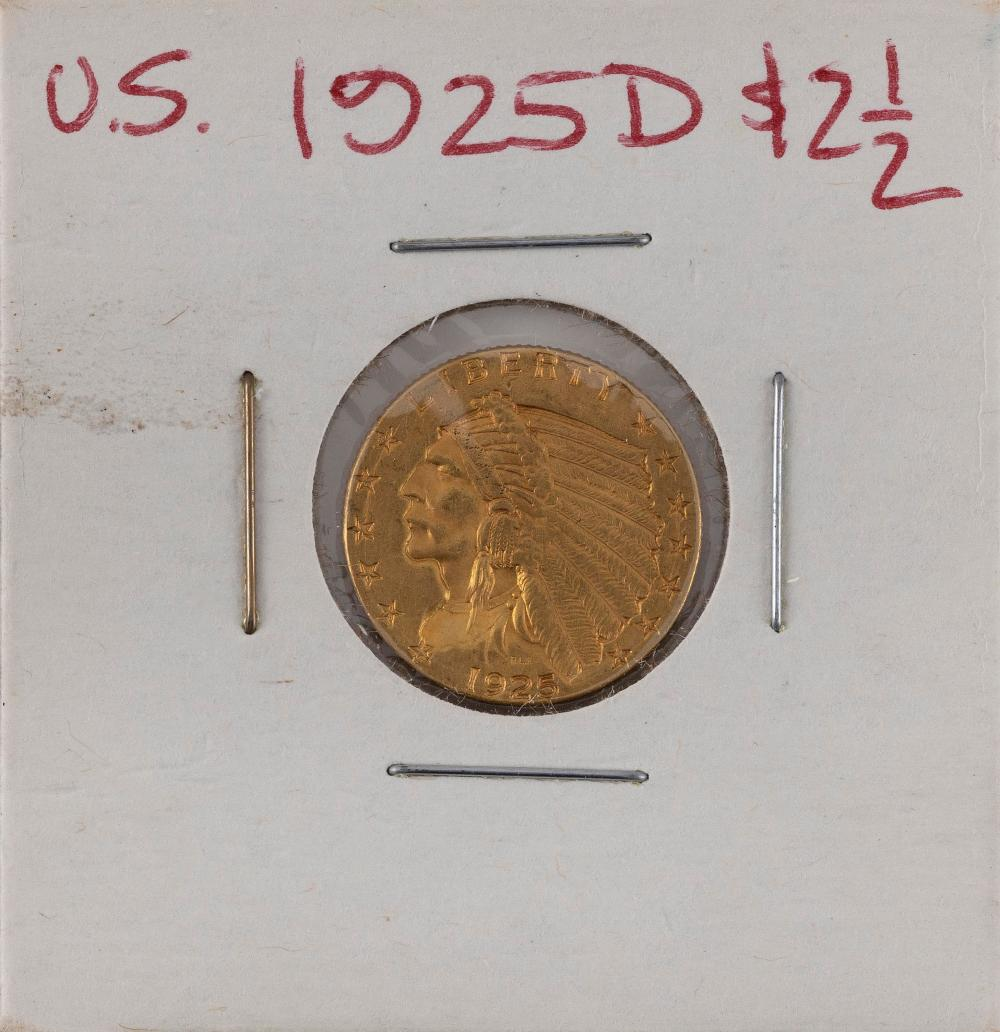 U.S. 1925-D TWO-AND-A-HALF DOLLAR GOLD PIECE EF.