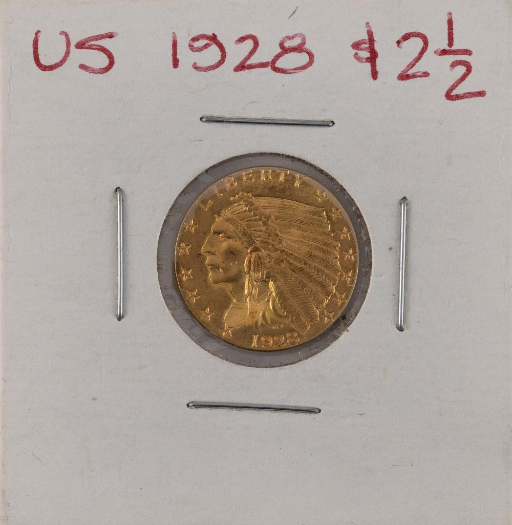 U.S. 1928 TWO-AND-A-HALF DOLLAR GOLD PIECE EF.