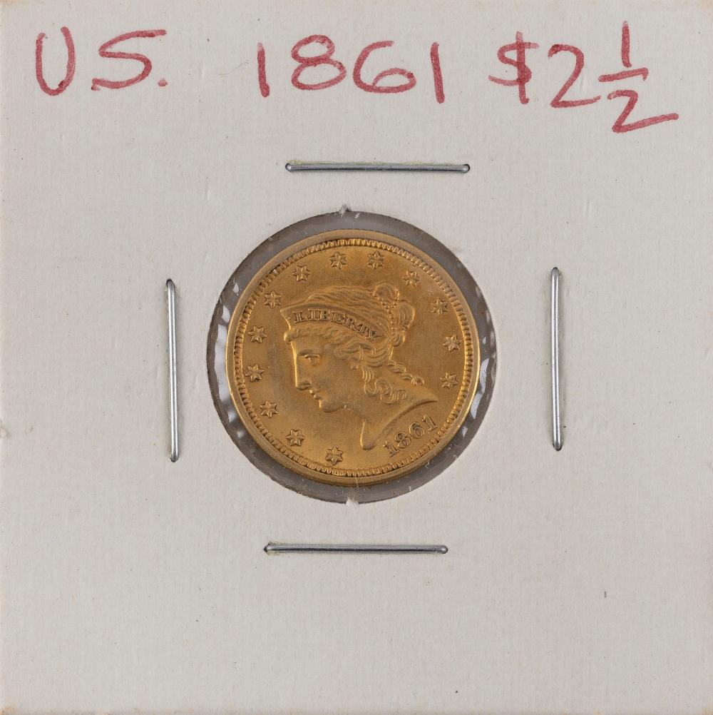 U.S. 1861 TWO-AND-A-HALF DOLLAR GOLD PIECE EF.